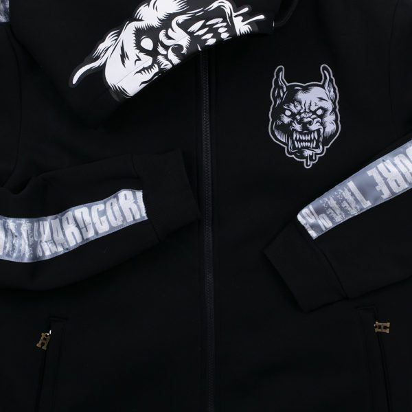 Pit Bull amstaff hooded zipper by 100% Hardcore. Dog prints