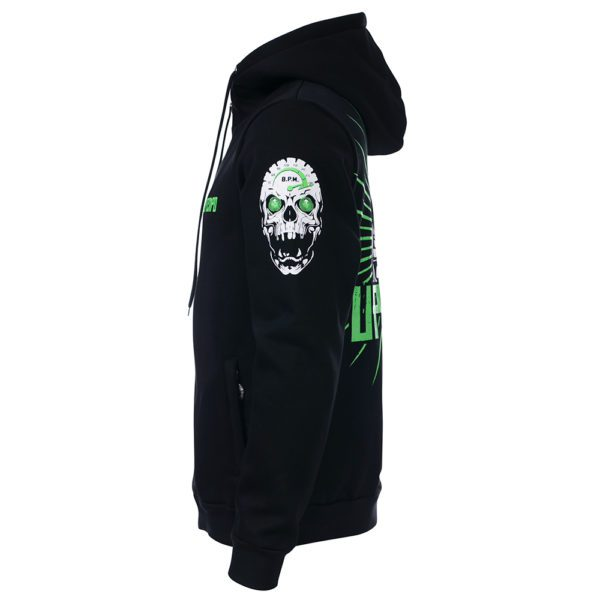 Uptempo hooded zipper with green 240 BPM design.
