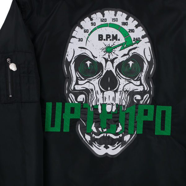 Uptempo bomber jack with big skull and 240 BPm artwork