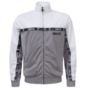 100% Hardcore training jacket white grey embroidered design
