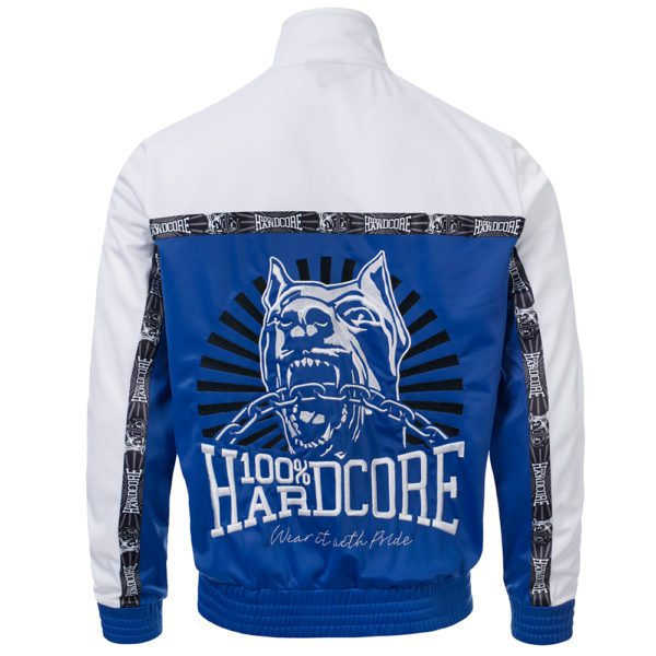 100% Hardcore training jacket white blue embroidered design