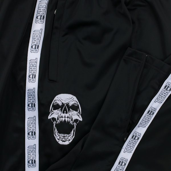 Terror training pants with skull and stripe.