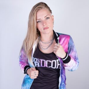 Gabber model Muisz wearing the new women collection by 100% Hardcore webshop