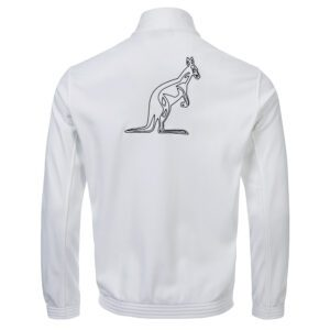 Australian white training jacket with logo and taping real gabber clothing at official webshop