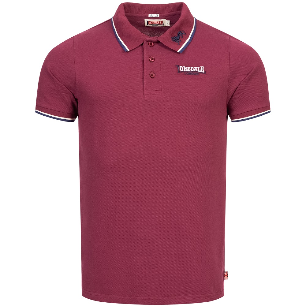 Lonsdale Slimfit Polo The Lion Oxblood Red