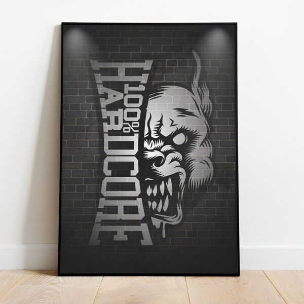 100% Hardcore poster set of 3 gabber logo's a2 format gabber merchandise collection hardwear